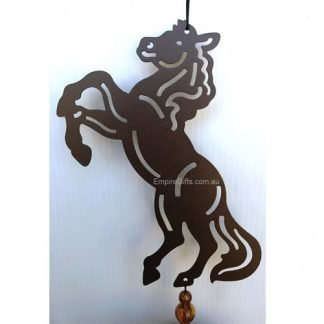 Horse Wind Chime Large Brown Metal Garden Hanging