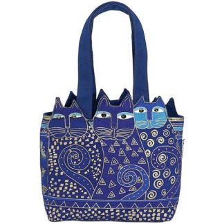 Designer Handbag Laurel Burch Feline Cat Cutout BLUE