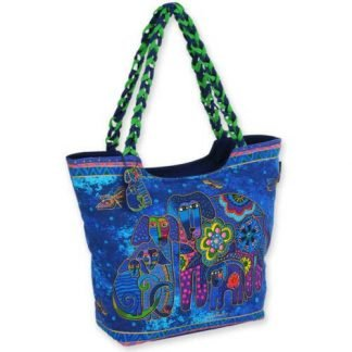 Laurel Burch Tote Dog Canine Family BLUE