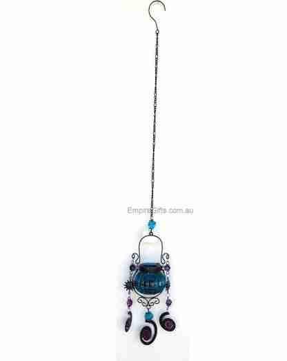 Glass Hanging Moroccan Metal Lantern Tea Light Holder SET of 3