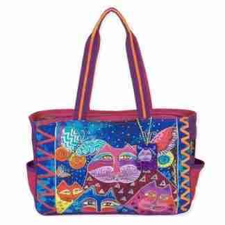 Designer Handbag Laurel Burch Tote Cats With Butterflies PINK