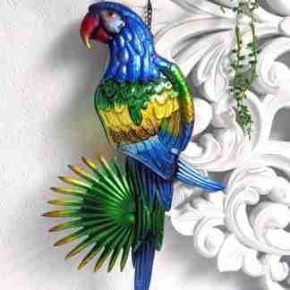 Blue Parrot Bird Wall Art Metal/Glass Garden Wall Art