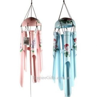 bamboo wind chime blue roses pink forget-me-nots