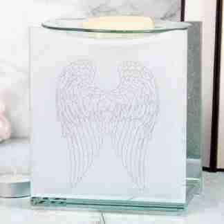 (1) Angel Wings Glass Oil Warmer Wax Melts Memorial Gift
