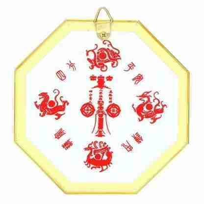 Bagua mirror 7.5 inches gold feng shui enhancer