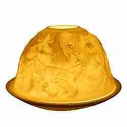 Cats Tealight Holder Porcelain Dome White