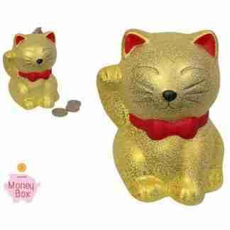 1 x Gold Money Cat Good Fortune Cat Money Box Feng Shui