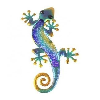 1pc Gecko Lizard Metal + Glass Hanging Wall Art Blue