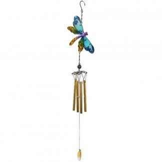 (1) Dragonfly Blue Wind Chime Metal Hanging Mobile Large