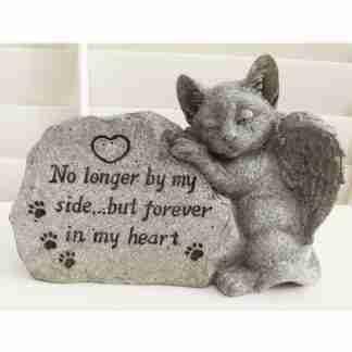 (1) Cat Memorial Stone Inspirational Sayings Garden Grave Stone