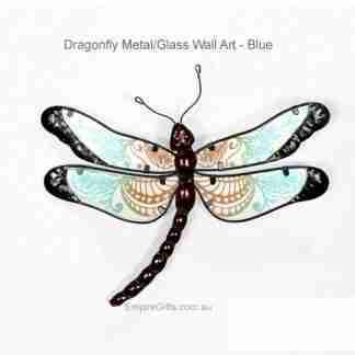 1 x Dragonfly Metal Glass Garden Wall Art Hanging blue