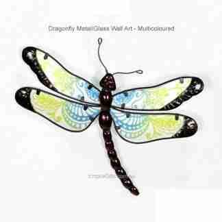 1 x Dragonfly Metal Glass Garden Wall Art Hanging green blue