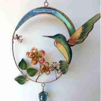Hummingbird w/Flowers Wind Chime Garden Hanging Mobile