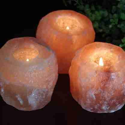 2 x Natural Himalayan Salt Tealight Candle Holder
