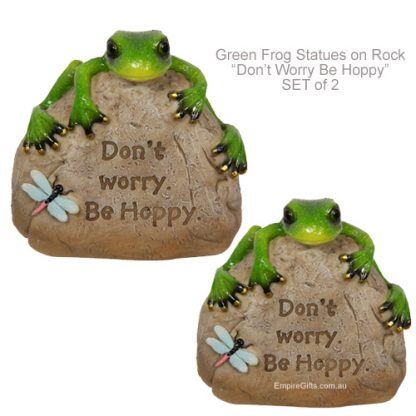 """Frog Statue Green Frog on Rock """"Don't Worry Be Hoppy"""" SET/2"""