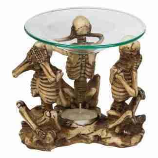 3 skeleton statue oil burner wax melts
