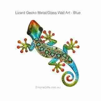 37cm Lizard Gecko Metal Glass Wall Ar