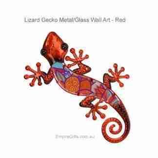 37cm Lizard Gecko Metal Glass Wall Art red tones