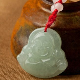 Buddha Necklace Lucky Red String Light Green Faux Jade